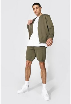 Light khaki Smart Knitted Bomber And Short Set