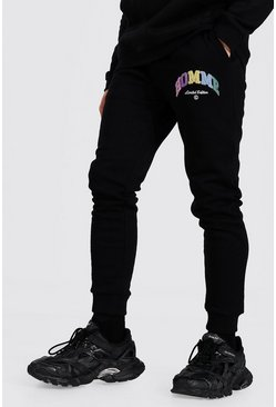 Black Skinny Homme Applique Joggers