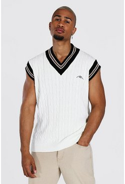 Man Cable Knit Oversized Vest With Stripes, Cream