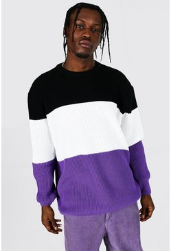 Purple Oversized Striped Ribbed Knit Sweater