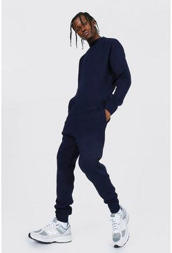 Navy Extended Neck Knitted Sweater & Jogger Set