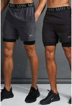 Man Active 2-in-1 Shorts, 2er-Pack, Mehrfarbig
