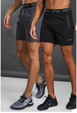 Man Active 2 Pack Shorts With Zip Pockets, Multi