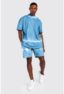 Blue Oversized Man Tie Dye Toggle Tee & Short Set
