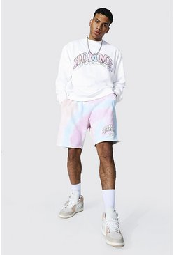 White Oversized Homme Sweater & Tie Dye Short Set
