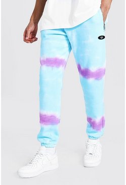 Light blue Tall Regular Man Tie Dye Zip Joggers
