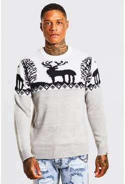Grey marl Fair Isle Knitted Christmas Jumper