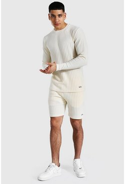 Stripe Knitted Jumper And Short Set With Tab, Ecru