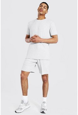 Stripe Knitted T-shirt And Short Set With Tab, Grey marl