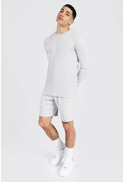 Grey marl Stripe Knitted Jumper And Short Set With Tab