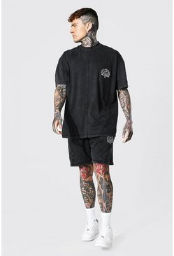 Black Oversized Man Acid Wash Extended Neck Tee Set