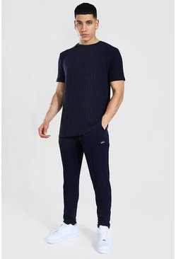Stripe Knitted T-shirt And Jogger Set, Navy