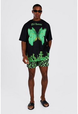 Green Oversized Flame Print T-Shirt And Swim Short Set