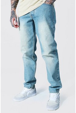 Antique blue Relaxed Fit Rigid Jean With Paint Splatter