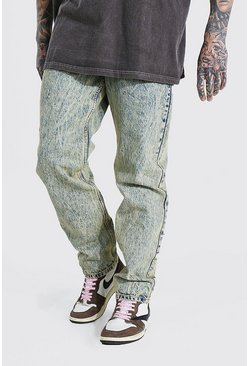 Yellow Relaxed Fit Acid Wash Jean