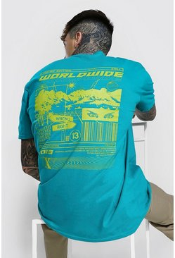 Teal Oversized Worldwide Graphic T-shirt