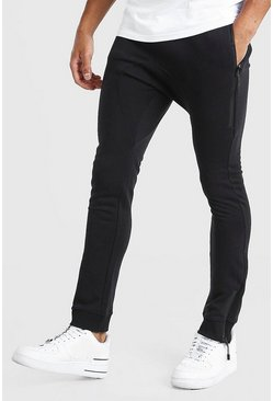 Black Skinny Fit Jogger With Side Zips