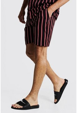 Mens Black Vertical Stripe Print Mid Length Short