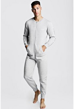 Mens Grey MAN Tape Onesie