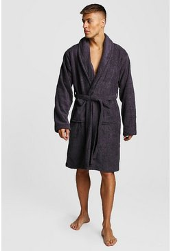 Grey MAN Embroidered Towelling Robe