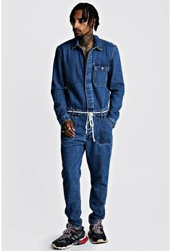 Mens Mid blue Denim Boilersuit With Shoe Lace Belt