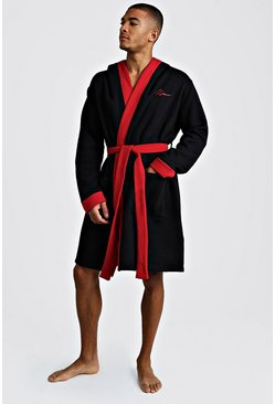Mens Black MAN Red Embroidered Robe