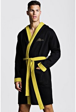 Mens Black MAN Gold Embroidered Robe