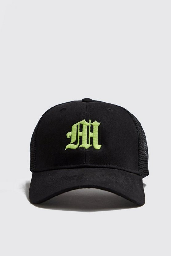 Neon-yellow M Embroidered Trucker Cap