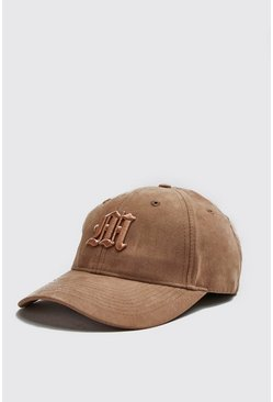 Cap aus Wildlederimitat mit M in 3D-Stickerei, Gold, Herren
