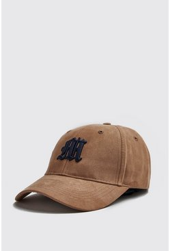 Mens Navy 3D M Embroidery Faux Suede Cap