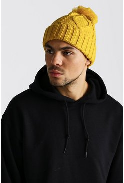 Mens Mustard Cable Knit Bobble Beanie