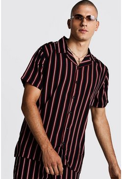 Black Vertical Stripe Oversized Revere Shirt