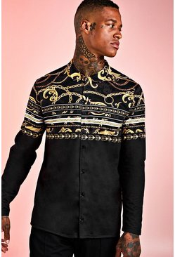 Black Floral Baroque Stripe Long Sleeve Shirt
