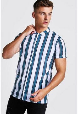Mens Green Stripe Short Sleeve Shirt