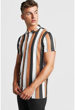 Mens Mustard Short Sleeve Stripe Shirt