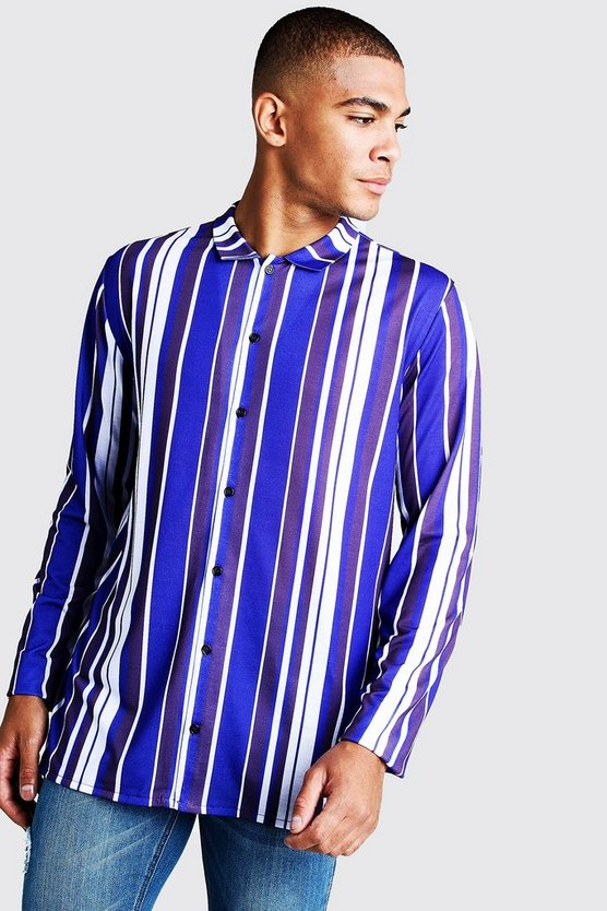 Mens Long Sleeve Cobalt Stripe Shirt