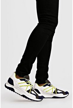 Mens White Neon Yellow Bungee Cord Chunky Trainers