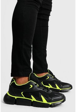Mens Black Neon Pop Chunky Trainer