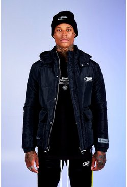 Mens Black Deno Driz Puffer Jacket With BHM Print