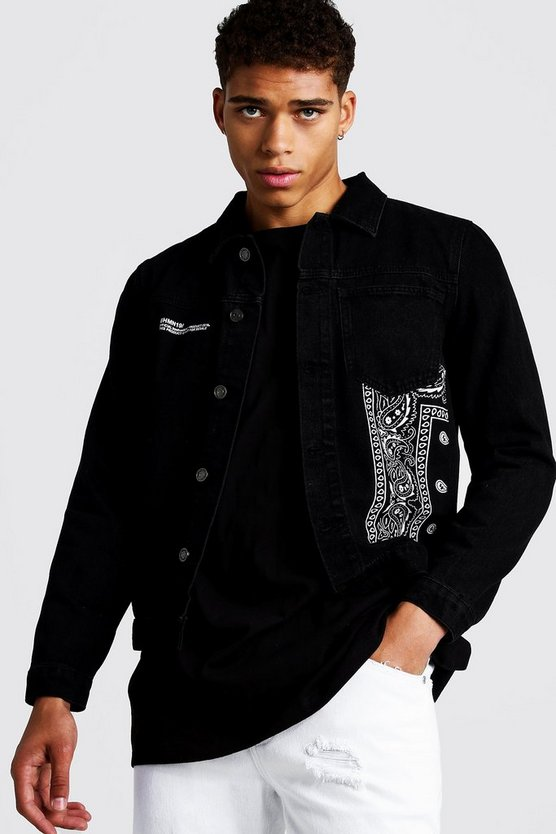 Mens Black Denim Trucker Jacket With Bandana Detail