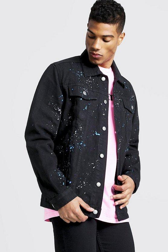 Oversized Denim Jacket With Paint Splat by Boohoo Man