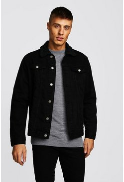 Mens Black Oversized Denim Jacket With Borg Collar