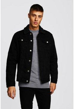 Black Oversized Denim Jacket With Borg Collar