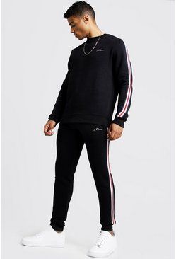 Mens Black MAN Signature Sweater Tracksuit With Tape
