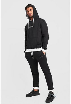 Mens Black MAN Signature Hooded Tracksuit With Contrast Hood