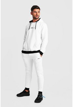 Mens White MAN Signature Hooded Tracksuit With Contrast Hood
