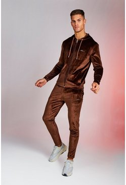 Mens Brown Man Signature Shiny Velour Hooded Tracksuit