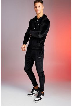 Mens Black Man Signature Shiny Velour Hooded Tracksuit