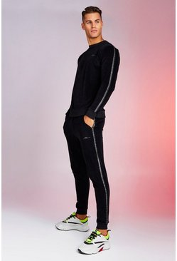 Mens Black MAN Signature Velour Sweater Tracksuit With Tape