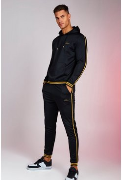 Mens Black MAN Signature Tricot Gold Tape Tracksuit With Rib